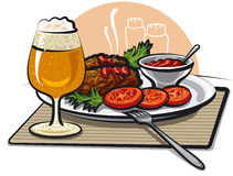 Beer, cutlets and sauce Stock Photos