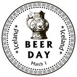 Beer Day Iceland. March 1st day of beer, lifting the ban of beer in Iceland. Vector illustration Stock Photography