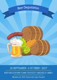 Beer Degustation 2017 on Vector Illustration. Beer degustation, come with your friends, banner depicting symbols of beerfest vector illustration on striped blue Royalty Free Stock Photography