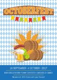 Beer Degustation 2017 on Vector Illustration Card. Octoberfest poster beer degustation, come with your friends, banner depicting symbols of beerfest vector Royalty Free Stock Image