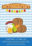 Beer Degustation 2017 on Vector Illustration Card. Octoberfest poster beer degustation, Oktoberfest banner depicting symbols of beerfest as hop, golden wheat and Royalty Free Stock Photo