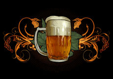 Beer design. Large tankard on the black background , this illustration may be useful as designer work Stock Image