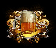 Beer design. Large tankard decorated leaves and ribbons, this illustration may be useful as designer work Stock Photography