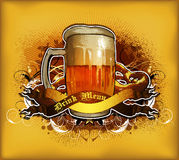 Beer design. Large tankard on the yellow background , this illustration may be useful as designer work Royalty Free Stock Photo