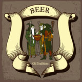 Beer design with tree wizards Royalty Free Stock Image