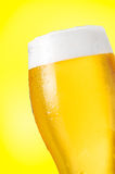 Beer detail on yellow stock photography