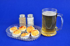 Beer and Deviled  Eggs Royalty Free Stock Image