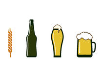 Beer in different containers. Icons of tanks with beer. Bottle, glass, mug. And a ear of corn Stock Images