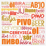 BEER in different languages of the world Stock Images