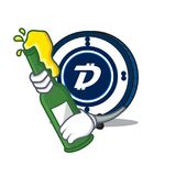 With beer Digibyte coin mascot cartoon. Vector illustration Royalty Free Stock Images