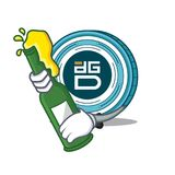 With beer DigixDAO coin mascot cartoon. Vector illustration Royalty Free Stock Photo