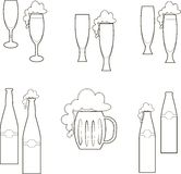 Beer dishes, glasses, mug, bottle, empty and with foam Royalty Free Stock Photography