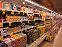 Beer display shelves Royalty Free Stock Photography