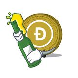With beer Dogecoin mascot cartoon style. Vector illustration Stock Image