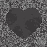 Beer doodles in heart shape Royalty Free Stock Photo