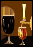 2 beer draft glasses , light and dark. Abstract design , colorful background ,2 beer draft glasses , light and dark vector illustration