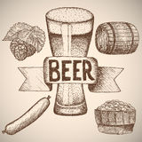 Beer. Drawing by hand. Royalty Free Stock Image