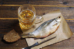 Beer and dried fish Stock Photo