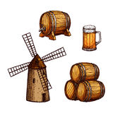 Beer drink isolated sketch set with glass, barrel Stock Image