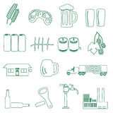 Beer drink and pub simple outline icons eps10 Stock Image