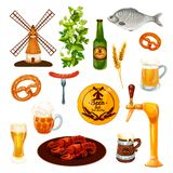 Beer drink and snack food icon for bar, pub design. Beer drink and snack food cartoon icon for bar, pub and brewery design. Beer alcohol beverage mug, lager Royalty Free Stock Images