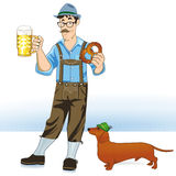 Beer drinker and dog. Cartoon of a German man wearing lederhosen, holding a mug of beer and a pretzel with a small dachshund dog nearby Stock Photos