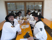 Beer drinkers at the fair in Maranza, South Tyrol, Italy Stock Photography
