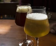 Beer drinks in different colors stock photos