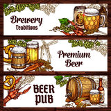 Beer drinks and snack food sketch banner design. Beer pub and brewery sketch banner. Beer, ale and lager alcohol drinks glass bottle and mug, wooden barrel and Royalty Free Stock Photo