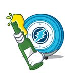 With beer Electroneum coin mascot cartoon. Vector illustration Royalty Free Stock Photography