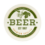 Beer emblem with hand drawn hop brunch Royalty Free Stock Image