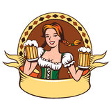 Beer emblem. Young woman holding beer glasses. Emblem with ribbon Stock Photography