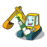 With beer excavator mascot cartoon style vector illustration