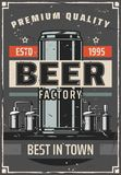 Beer factory or brewery bar vector retro poster. Beer brewing factory retro poster for bar or pub. Vector vintage design of brewery barrel cask and beer can with vector illustration