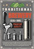 Beer factory brewery production line retro poster. Beer brewing factory or traditional brewing production line retro poster. Vector vintage design of barrel cask stock illustration
