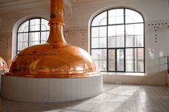 Beer factory with large storage tanks Royalty Free Stock Photography