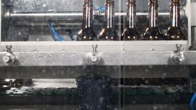 7577d792f5 Beer factory. A part of automatic beer production techological cycle. Empty  bottles are washed