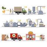 Beer factory set. From wheat and mall to fresh beer in store royalty free illustration