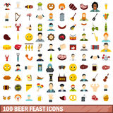 100 beer feast icons set, flat style. 100 beer feast icons set in flat style for any design vector illustration Stock Image