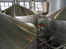Beer fermentaion tanks. Upper part of a beer fermentation tanks Stock Images