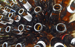 Beer fest. Many beer bottles gathered and shot with a fisheye lens royalty free stock photos