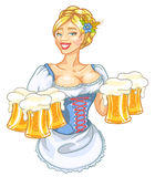 Beer fest girl in blue Stock Photos