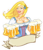 Beer fest girl in blue, logo design. Oktoberfest or St.Patricks day girl with beer, woman with glasses of beer isolated, logo design Stock Images