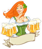 Beer fest girl in green, logo design. Oktoberfest or St.Patricks day girl with beer, woman with glasses of beer, St. Patricks Day logo design with space for text Royalty Free Stock Photos