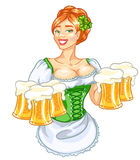 Beer fest girl in green, logo design. Oktoberfest or St.Patricks day girl with beer, woman with glasses of beer, isolated Stock Photo