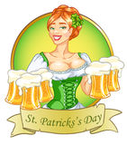 Beer fest girl in green, logo design. Oktoberfest or St.Patricks day girl with beer, woman with glasses of beer, St. Patricks Day logo design with space for text Stock Image