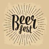 Beer fest lettering. Vector vintage engraving illustration Stock Image