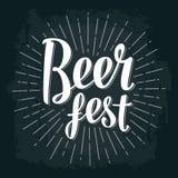 Beer fest lettering. Vector vintage engraving illustration. On dark background Royalty Free Stock Images