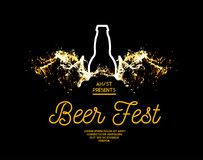 Beer fest. Splash of beer with bubbles on a black background. Vector illustration with a silhouette of a bottle. And a splash in the form of wings Stock Photography