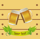 Beer Fest. Vector illustration of two golden beer mugs like as a cheering with beer fest banner design on a light yellow wooden design background Royalty Free Stock Photos